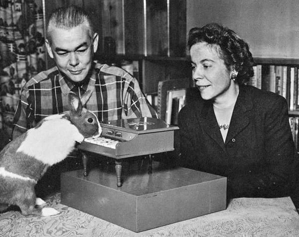 Animal trainers Keller and Marian Breland, from the booklet Animal Wonderland: The Story of the Keller Breland Educated Animals, 1962.