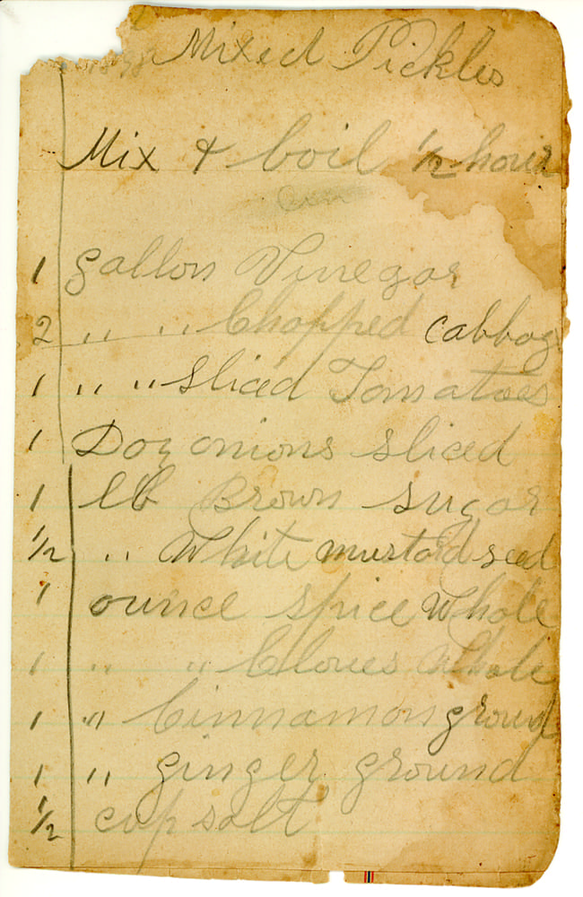 Handwritten recipe. Alice Ruth Collection