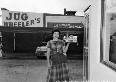 Arlene Kelly Stewart, Jug Wheeler's Drive-In, Dickson Street, Fayetteville, Arkansas, 1959.