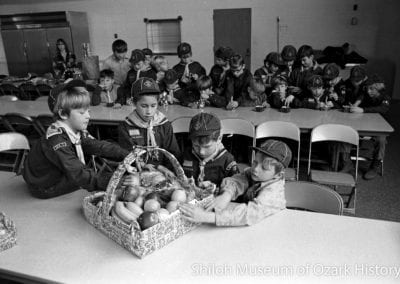 Cub Scouts preparing baskets for the needy, Jones Elementary School, Springdale, Arkansas, December 1973. From left: Davon Bookout, Stanley Murray, Randy Appleby, Dewayne Stamps.
