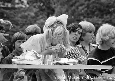 Bonnie Harold competing in a pie-eating contest, Springdale High School, Springdale, Arkansas, May 1974.