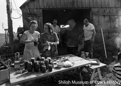 Making apple butter, Henry Tabor farm, Springdale, Arkansas, September 1972. From left: Faye Tabor, Elizabeth Martin.