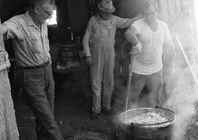 Making apple butter, Henry Tabor farm, Springdale, Arkansas, September 1972. From left: Henry Tabor, Ray Tabor, Ed Tabor.