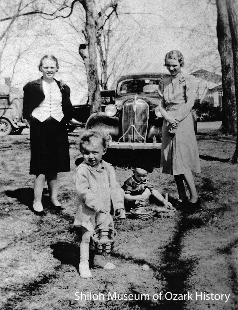 From left: Ruth Haigh Roberts, Lawrence Roberts, Orville Hall Jr. , and Janie Haigh Hall, at the Hall home in Fayetteville, April 9, 1939.