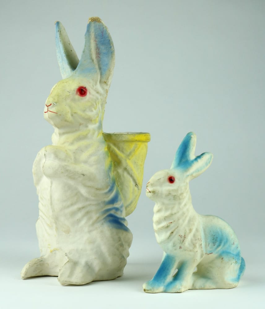 Pressed cardboard Easter rabbits,1930s