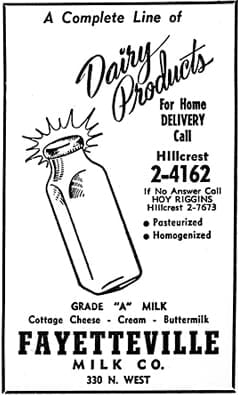 Fayetteville Dairy ad, 1955