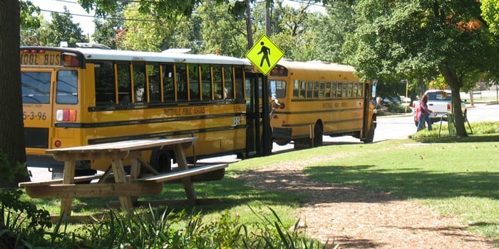 School buses at Shiloh Museum