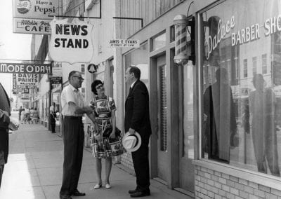 Espen and Lois Walters (left) visit with Governor Orval Faubus in downtown Springdale, AR, circa 1964.