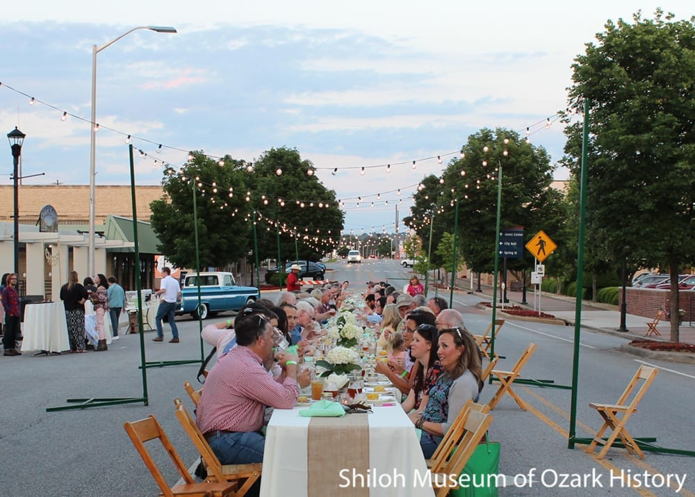 Outdoor street dinner, Emma Avenue, Springdale, AR, 2016