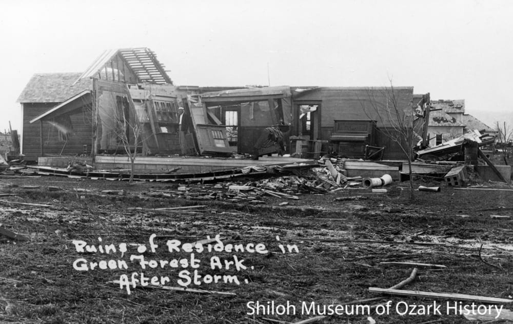 Tornado-damaged home, Green Forest, Arkansas, March 1927.