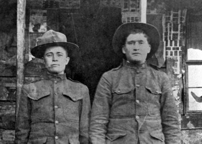 Roscoe Armer (left) and friend, possibly Delmar (Carroll County), Arkansas, circa 1918.