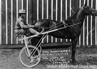 "Carl A. Ownbey with ""King Directum,"" a nationally famous trotting horse he owned, Springdale, Arkansas, early 1910s."