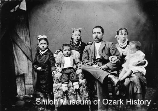 Joseph Bevers and Ada Vaughan Bevers family of Hindsville, Arkansas, circa 1880.