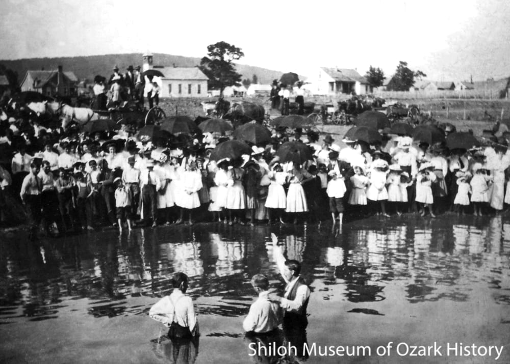 Baptism at the White River, possibly the Mundell community, Carroll County, Arkansas, circa 1915.