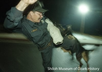 """Quint"" attacks Officer John Schuster of the Fayetteville Police Department as part of a training session, October 24, 1997."
