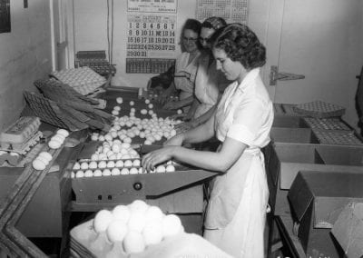 Egg packers, Fox DeLuxe Cage Farm, Rogers, Arkansas, January 1956.