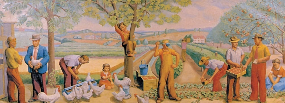"""Local Industries,"" a WPA mural created for the Springdale post office by artist Natalie Henry."
