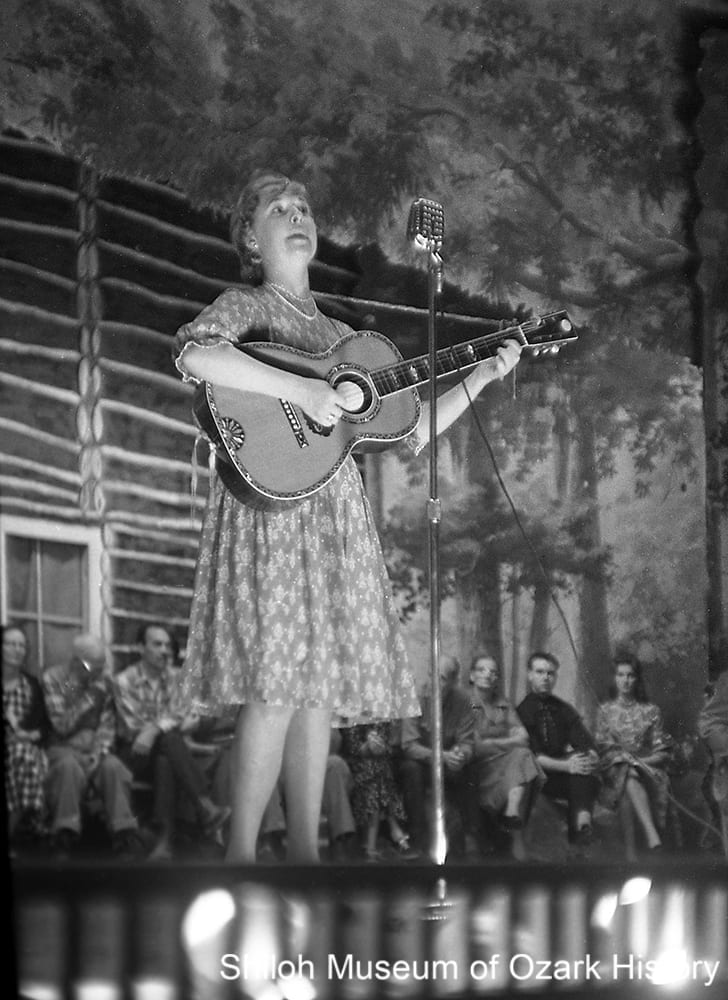Joanie O'Bryant performing at the City Auditorium, Ozark Folk Festival, Eureka Springs, October 1962.