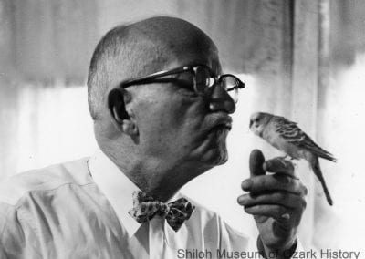 Professor Walter J. Lemke with his parakeet, Fayetteville, September 1959.