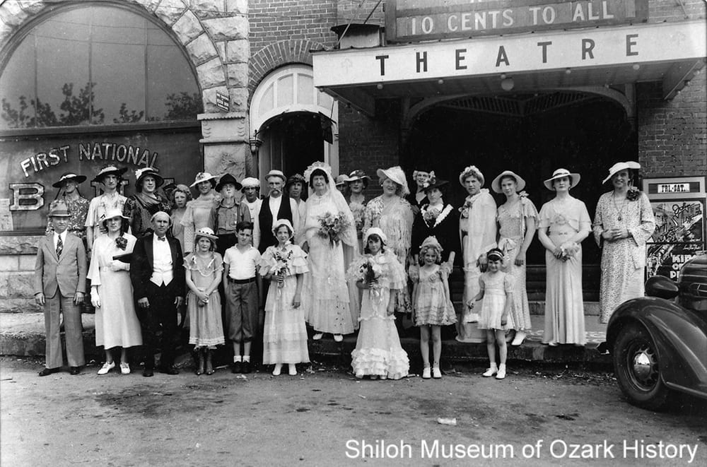 Participants of a mock wedding at the Ozark Theater, Berryville, Arkansas, about 1936.