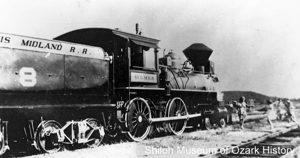 Fictional St. Louis Midland Railroad engine on the Frisco's Bentonville Branch, Benton County, Arkansas, 1938.