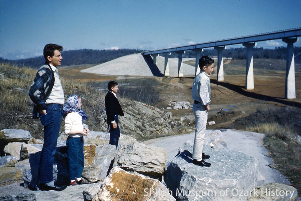 Highway 12 bridge during construction of Beaver Lake, 1964