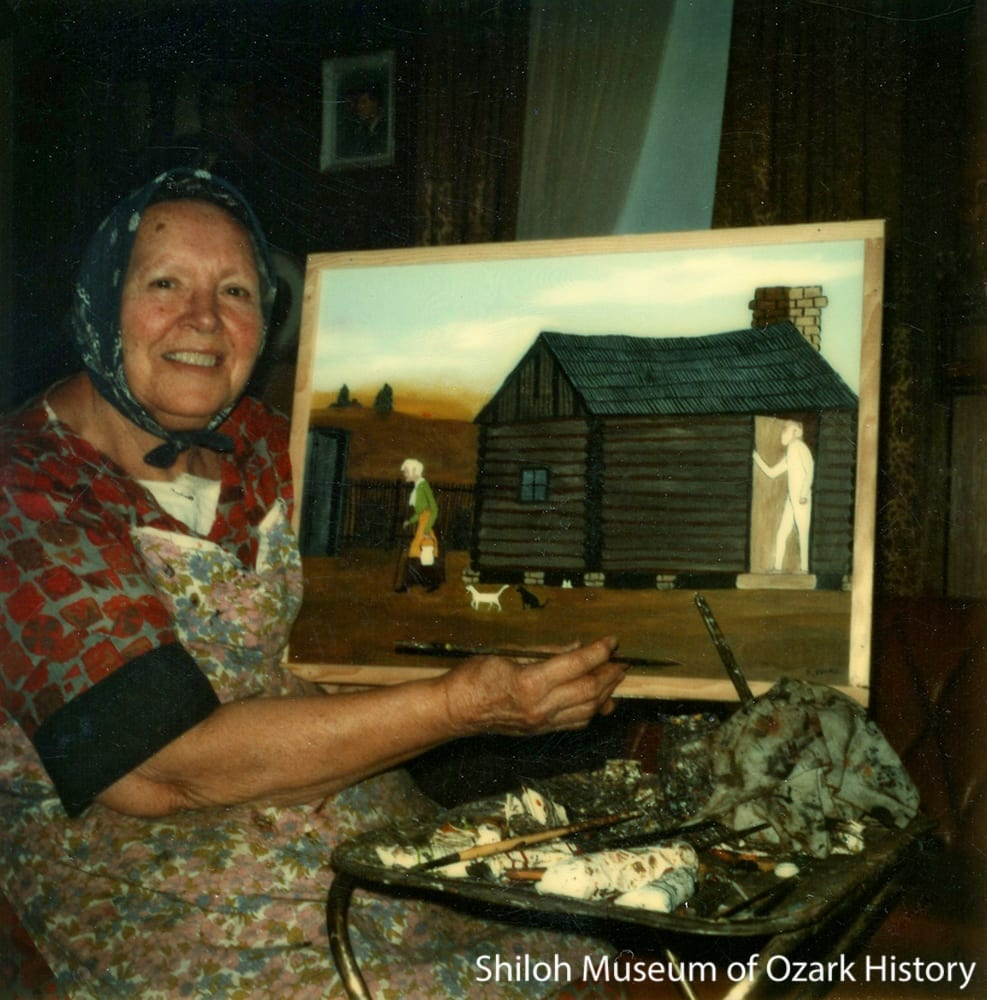 Essie Ward at her home near Marshall (Searcy County), Arkansas, 1970s.