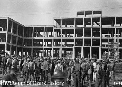 Administration building construction, U.S. Veterans Hospital, North College Avenue, Fayetteville, January 1933. Carl Smith, photographer.