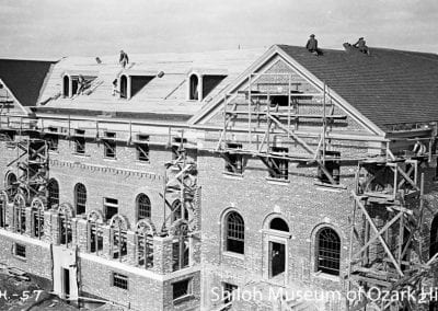 Administration building construction, U.S. Veterans Hospital, North College Avenue, Fayetteville, February 1933.