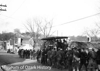 University of Arkansas football game rally, Dickson Street, Fayetteville, about 1920.