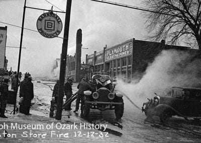 Boston Store fire, west side of the square, Fayetteville, December 1932.
