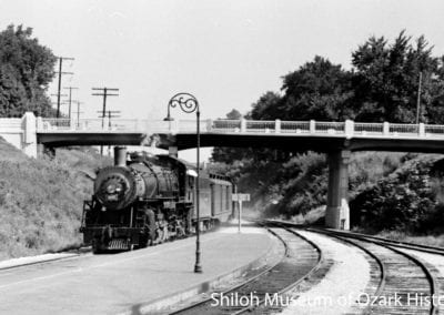 Frisco Railroad train, Lafayette Street underpass, Fayetteville, about 1940