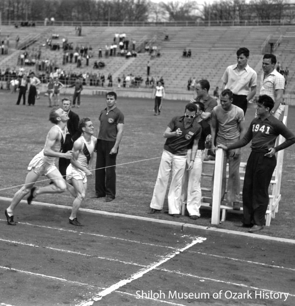 Track meet, University of Arkansas, Fayetteville, 1941. Carl Smith, photographer.