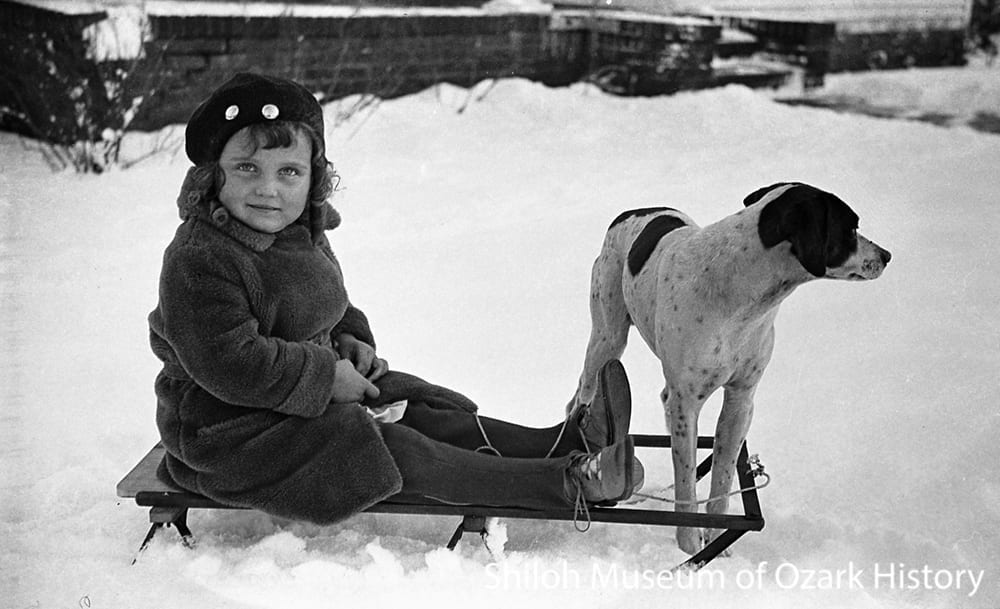 Ada Lee smith with sled, Fayetteville, Arkansas, 1932.