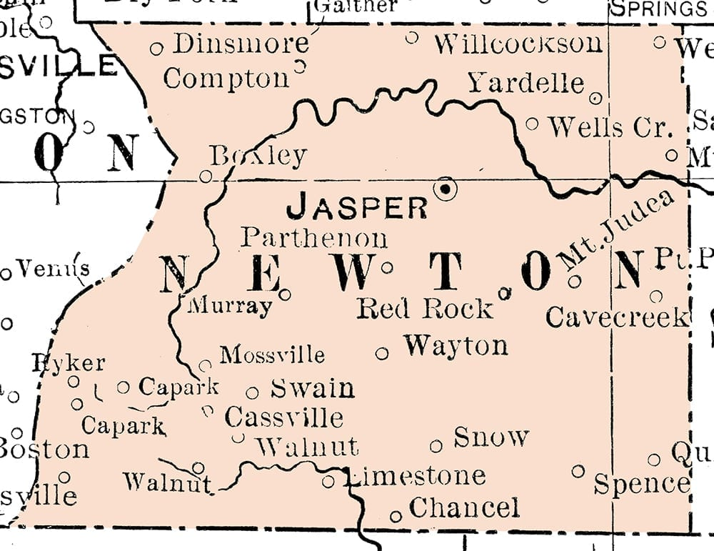 1901 map of Newton County, Arkansas