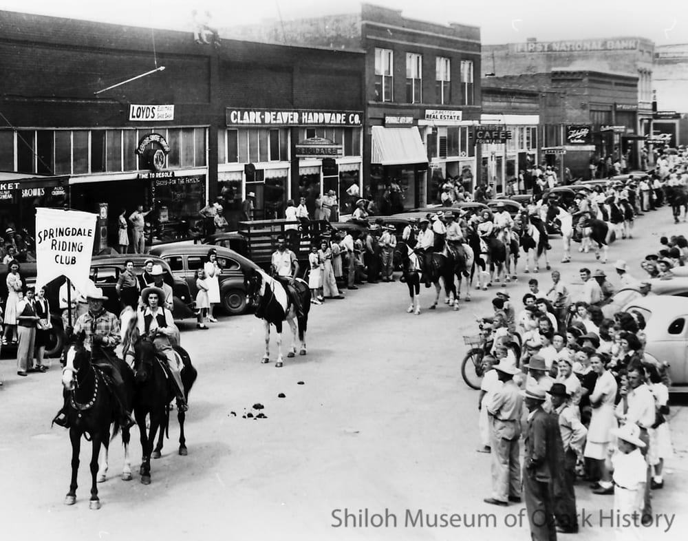 First Rodeo of the Ozarks parade, Emma Avenue, Springdale, Arkansas, July 1945.