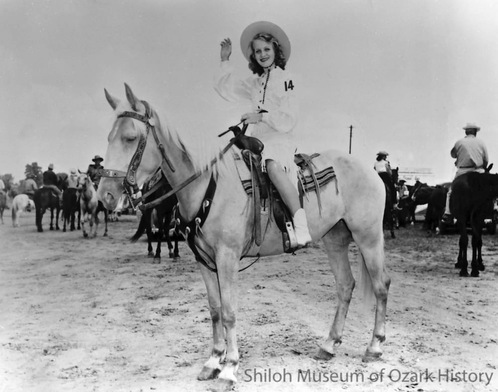 Sandra McWhorter of Rogers (Rodeo of the Ozarks queen candidate), Parsons Stadium, Springdale, Arkansas, July 1946.