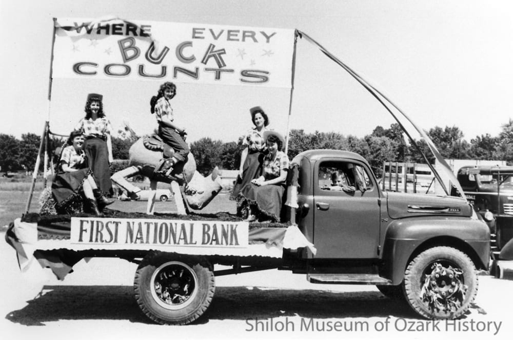 First National Bank's second-place-winning float at the high school bus lot, Springdale, Arkansas, July 1949.