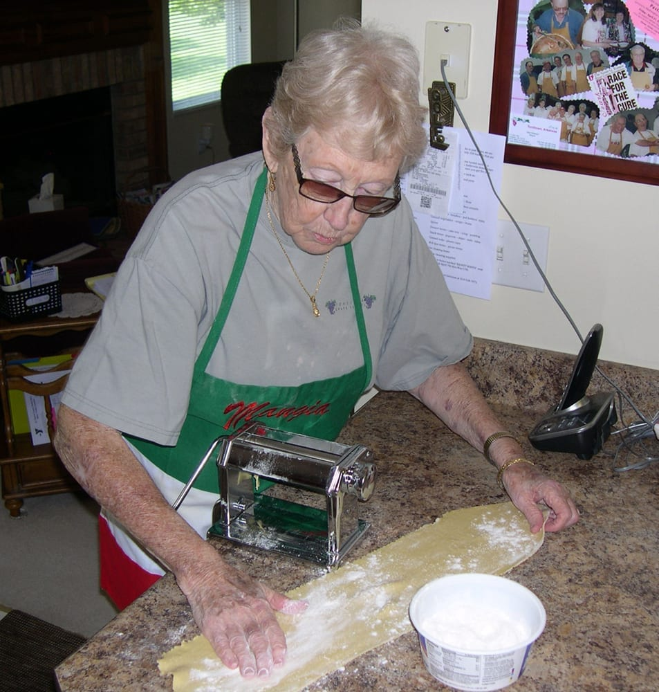 Nova Jean Fiori Watson flouring a rolled-out sheet of pasta, May 2018.
