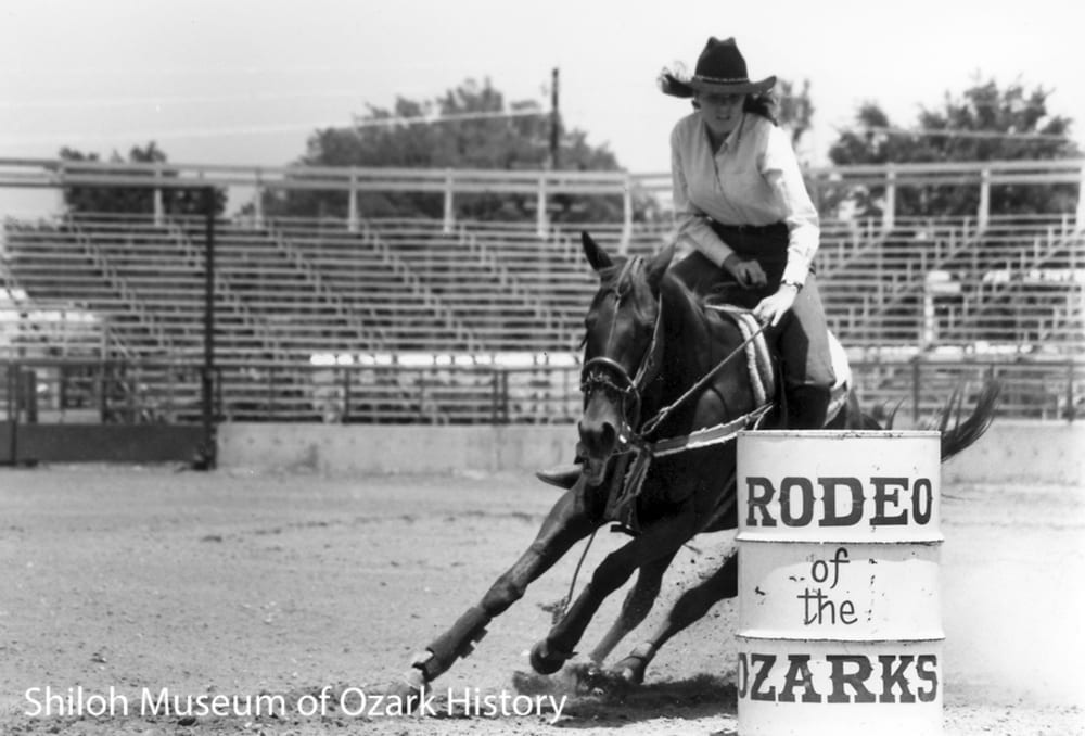 Kelli Martin of Siloam Springs, Ozarks Barrel Race Futurity-Derby, Parsons Stadium, Springdale, Arkansas, May 31,1985.