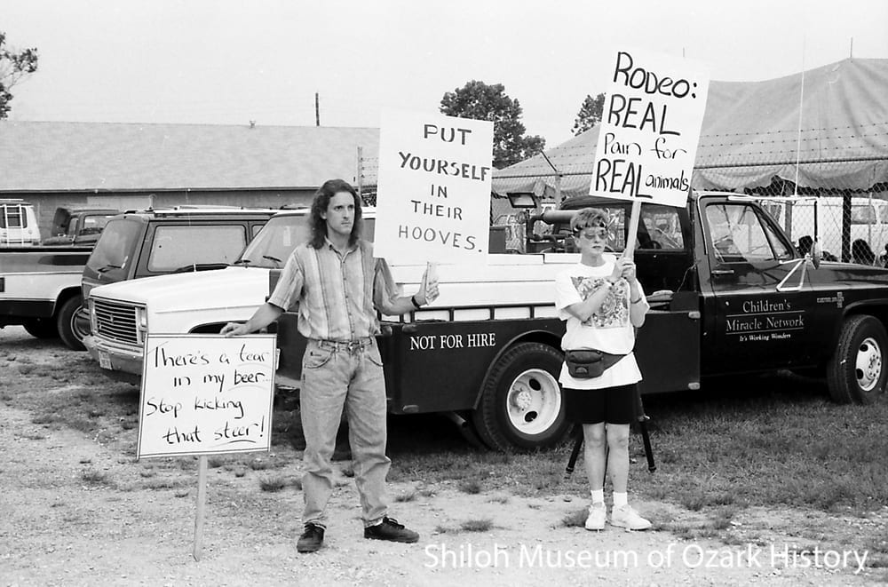 Animal-rights activists, Parsons Stadium, Springdale, Arkansas, July 4, 1992.