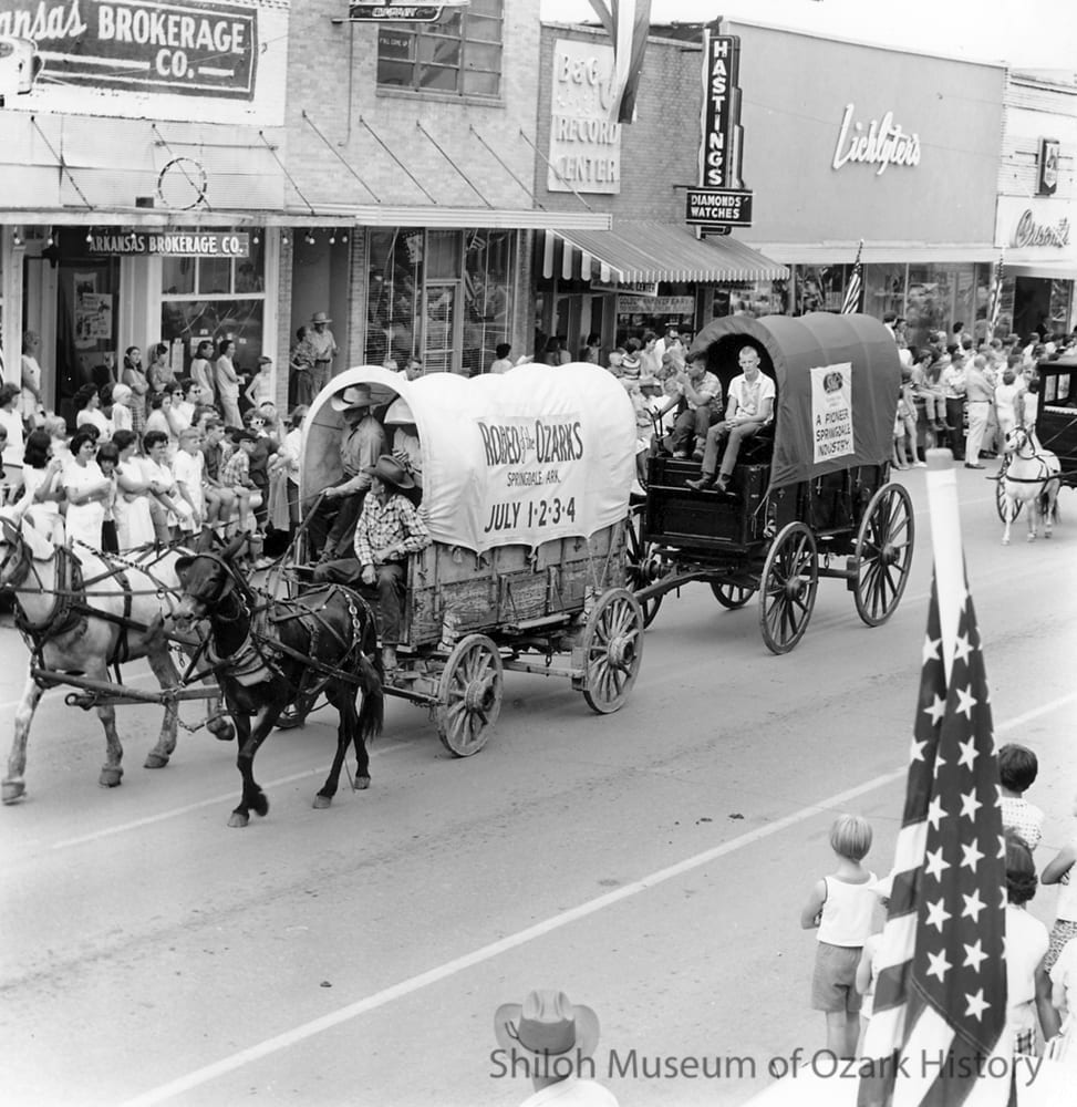 Rodeo of the Ozarks parade, Emma Avenue, Springdale, Arkansas, July 1967.