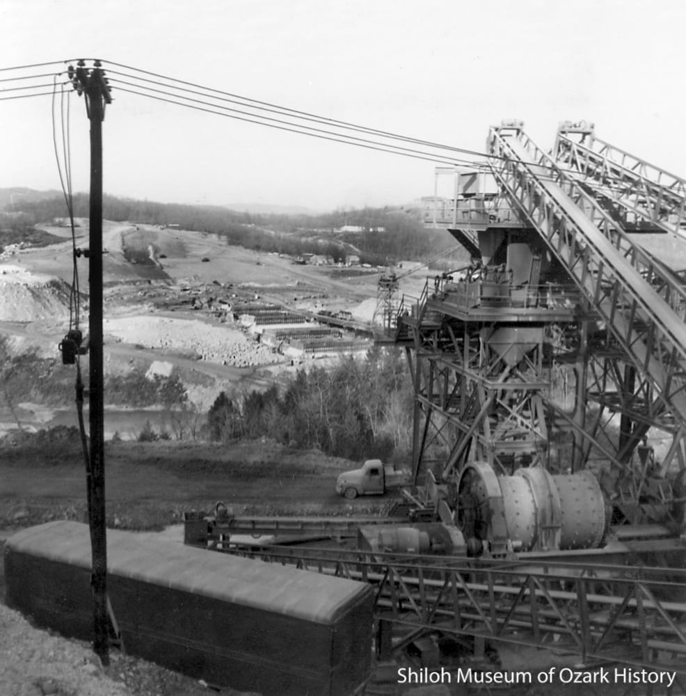 Part of the rock-crushing plant, December 1961.