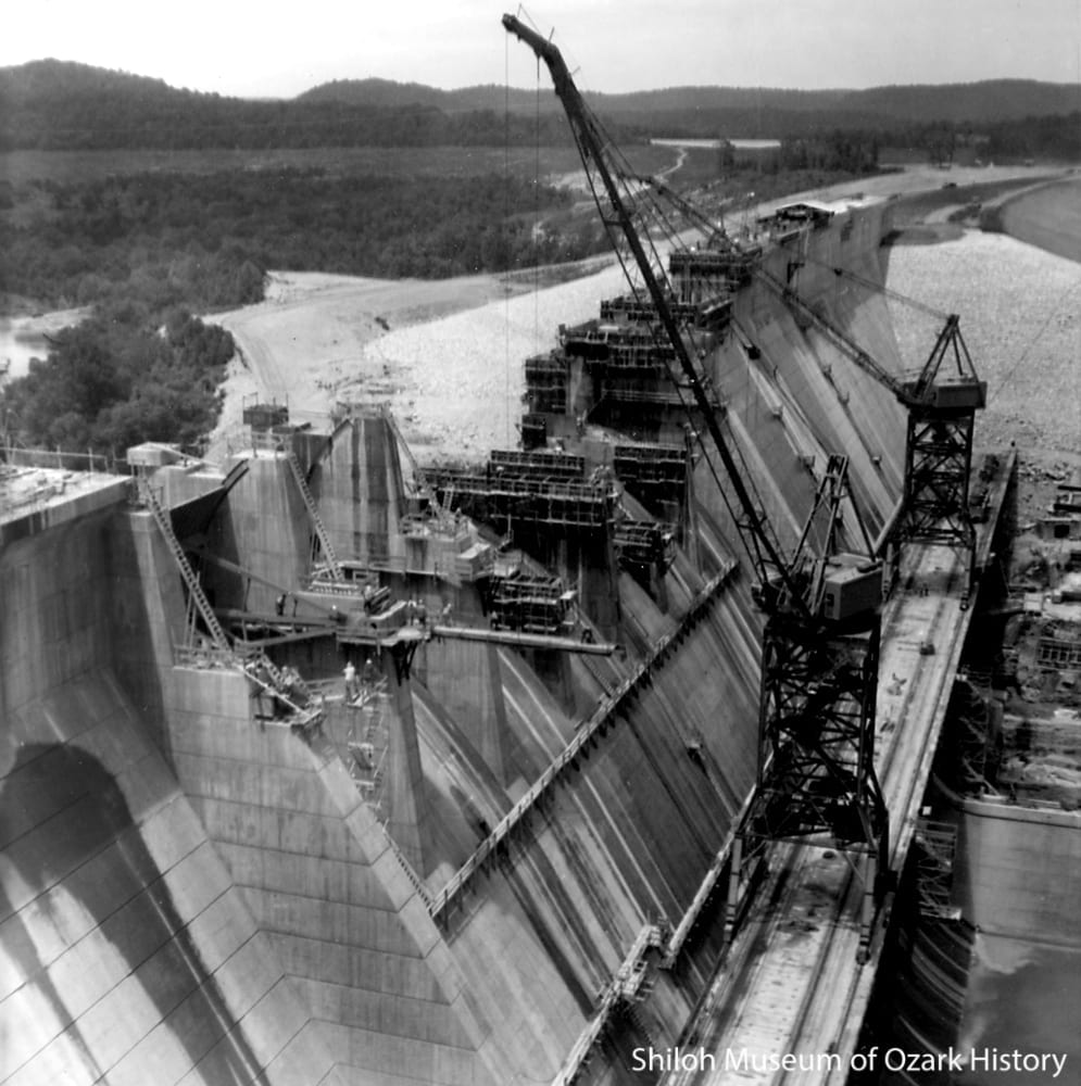 The spillway under construction, April 1963.  The earthen embankment is seen at top right.