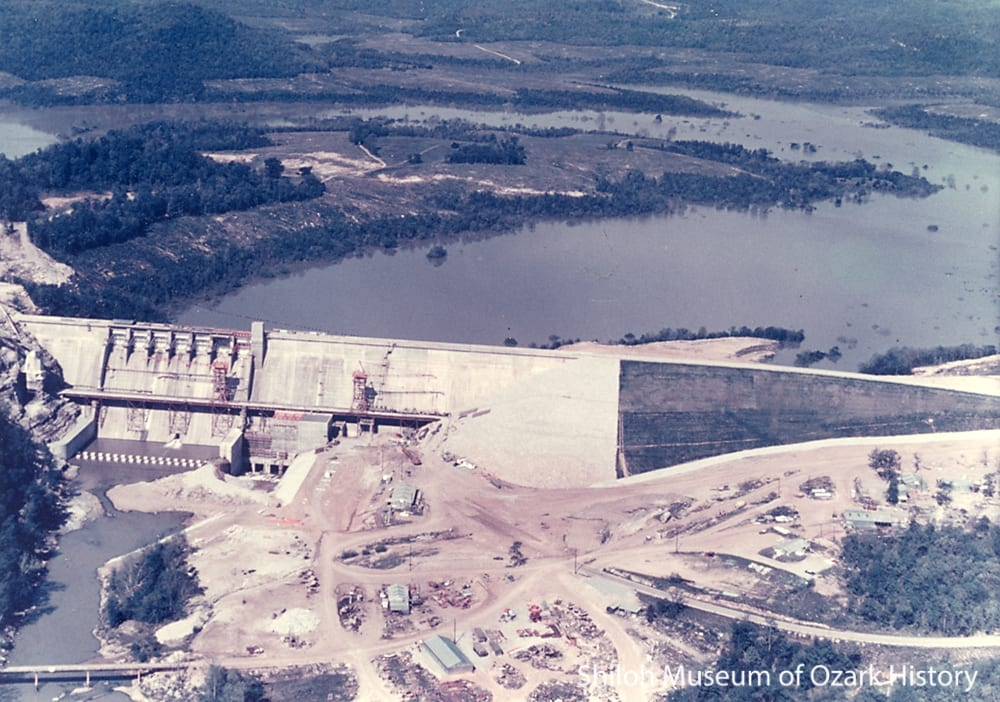 The nearly complete dam and White River, 1964.