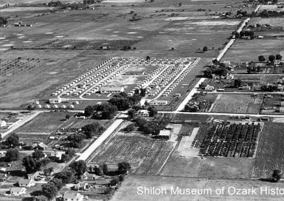Aerial view of labor camp, southeast Springdale, 1944.