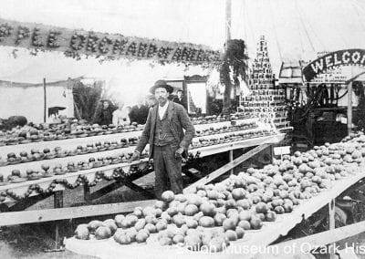 William R. Bird at Springdale's first apple fair, 1909.