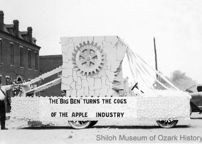 Apple Blossom Festival parade float for the Ben Davis apple, First Street, Rogers, 1924.
