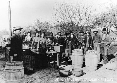 Processing apples at the A. Edward Rausher farm, Fairmount community (Benton County), 1910s.
