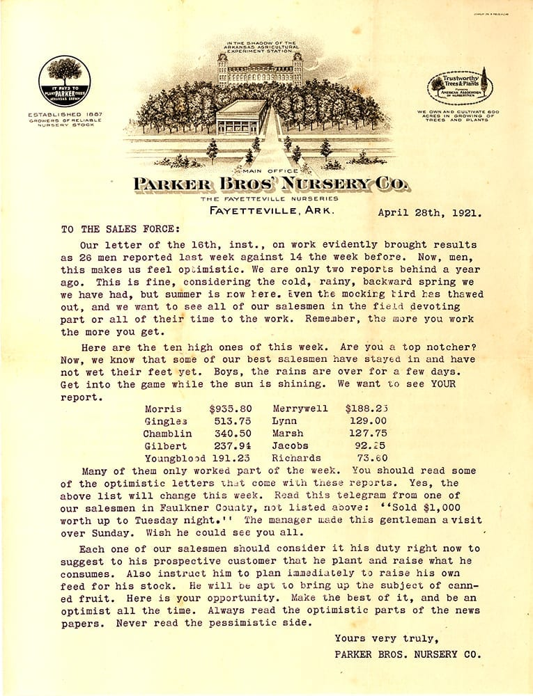 Parker Brothers Nursery Co., letter, April 21, 1921